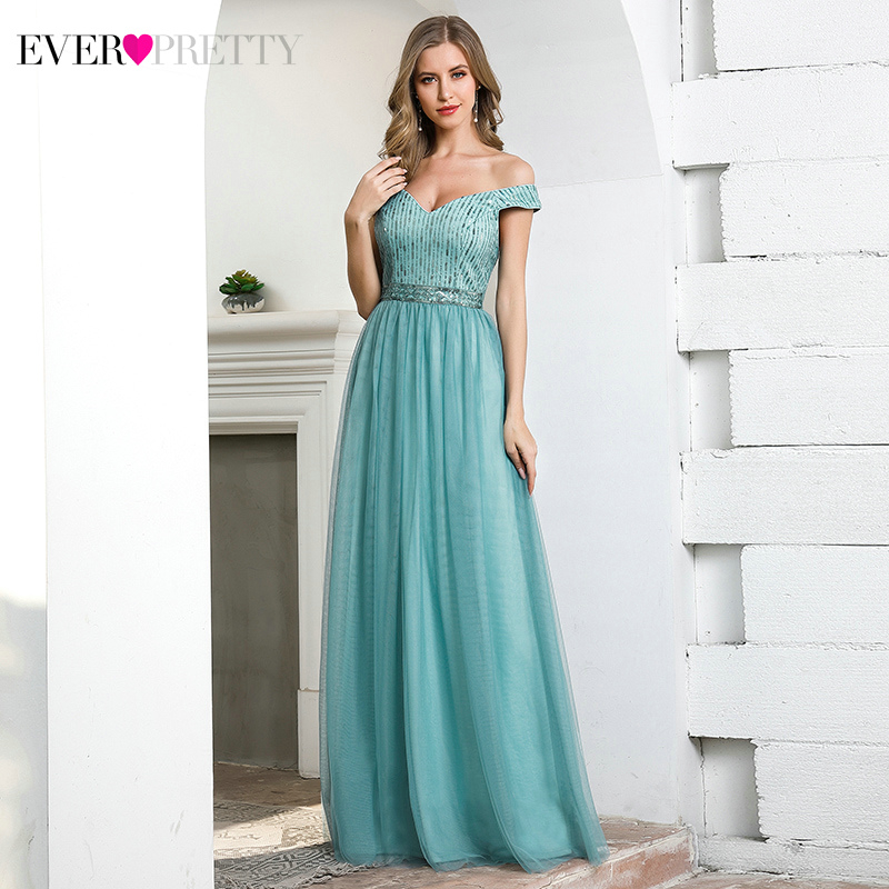 Sexy Blue Evening Dresses Ever Pretty A-Line Double V-Neck Off Shoulder Sequined Tulle Formal Evening Gowns Abendkleider 2020
