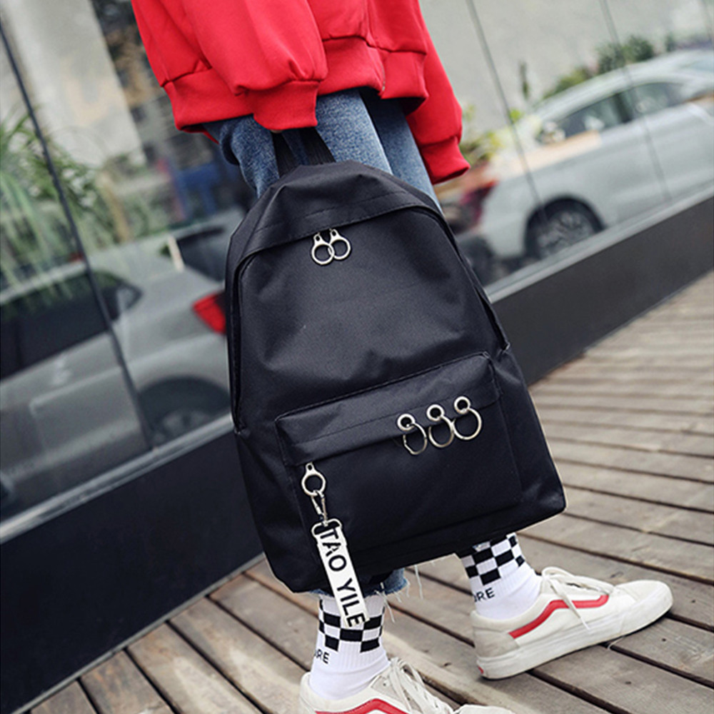 Waterproof Women Backpack Black And Pink Travel Bookbag Lady Back Bag Key Chain Knapsack College School Bag For Girls D2