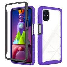 Anty spadek pancerz przypadku telefonu do Samsung Galaxy M51 M31 A11 A02S M60S M80S A01 A32 A12 A02 A81 A91 A22 moda 2 w 1 zderzak pokrywa
