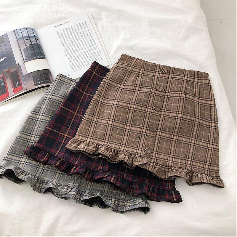 Юбка женская клетчатая выше колена, повседневная трапециевидная мини-юбка с завышенной талией и оборками, в Корейском стиле, на лето