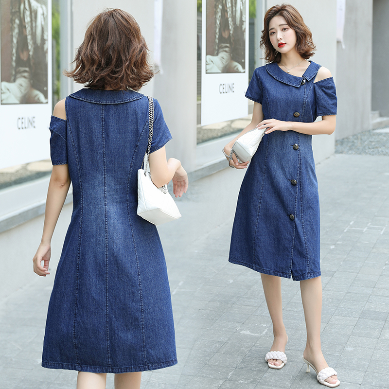 HAYBLST Brand Denim Dress Women 2020 Summer Short Sleeves Plus Size Clothes Kawaii High Quality Korean Style Solid Thin Clothing(China)