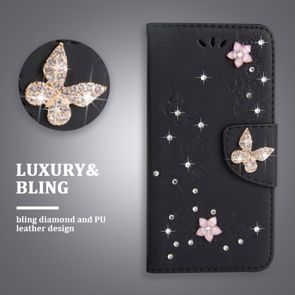 LAPOPNUT Butterfly <font><b>Leather</b></font> Wallet <font><b>Flip</b></font> <font><b>Case</b></font> for <font><b>IPhone</b></font> 11 Pro Xs Max Xr X 8 <font><b>7</b></font> Plus 6 6s 5s 5 SE Luxury Rhinestones Glitter Cover image