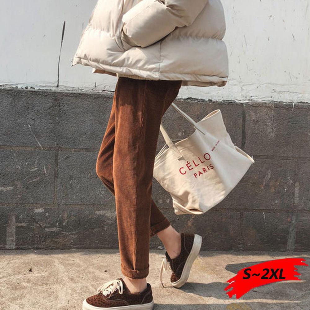 Corduroy Pants Women's Pants Mom Plus Size Sweatpants-women Women Mid Waist Elastic Waist Corduroy Trousers Autumn Sweatpants