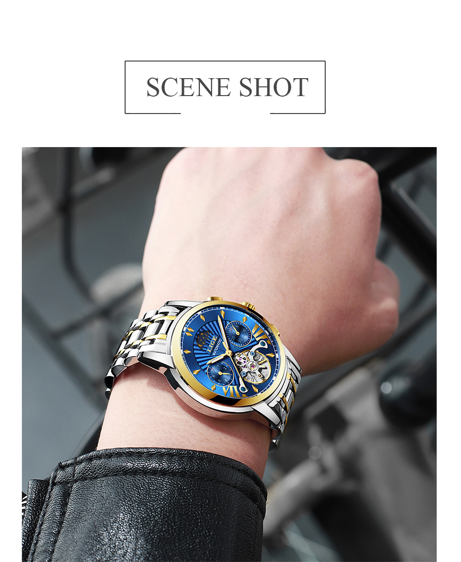 Luxo Homens Relógio Mecânico Automático de Negócios