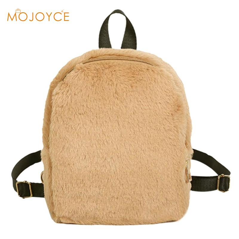 Women Soft Faux Fur Plush Backpack Shoulder Bag Fluffy School Bag Women Autumn Winter Fashion Schoolbag Zip Shoulder Bag