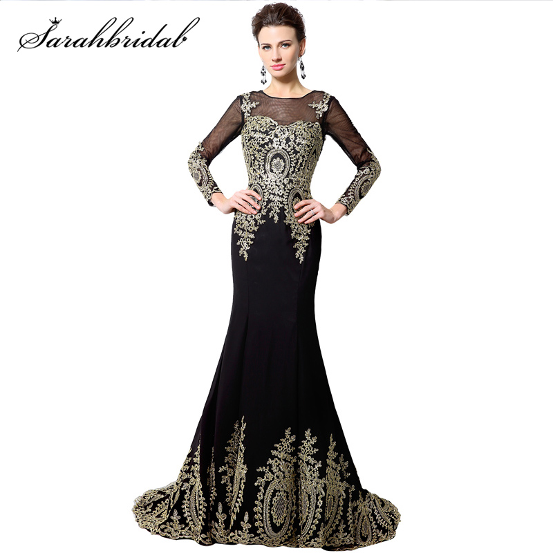 Elegant Long Sleeve Embroidery Mermaid Long Evening Dress Lace Applique Black Formal Gown Party Real Photos robe de soiree XU040