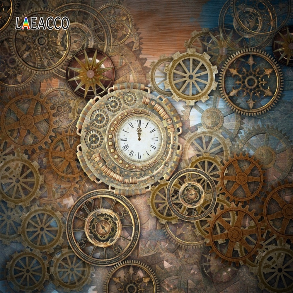 Laeacco Old Steampunk Style Gearwheel Carousel Grunge Photography Backgrounds Customized Photographic Backdrops For Photo Studio