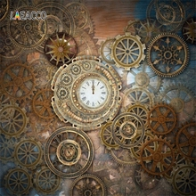 Laeacco Steampunk Style Gearwheel Carousel Grunge Vintage Portrait Photophone Photography Backgrounds Backdrops For Photo Studio