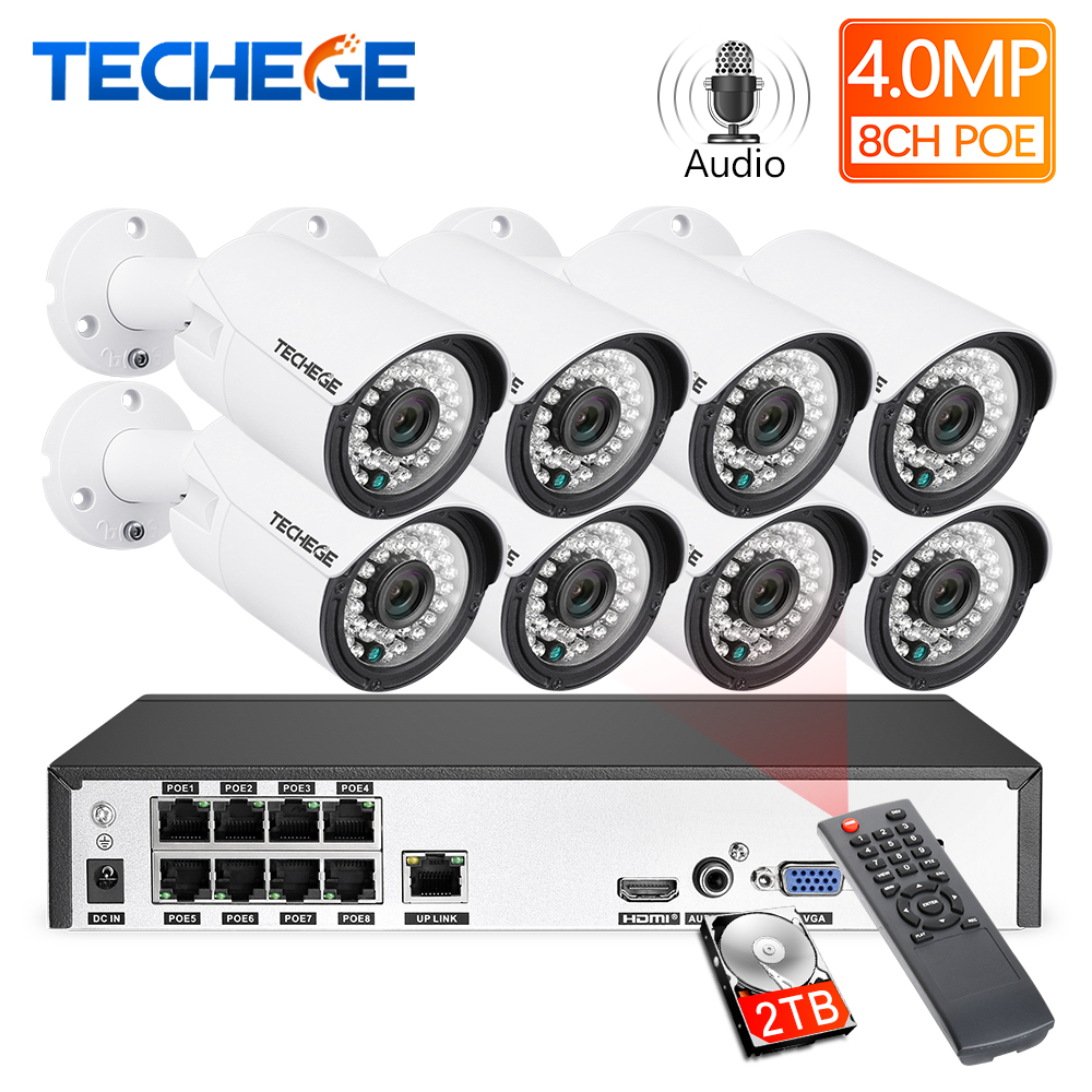 Techege H.265 8CH 4MP Áudio PoE NVR Kit de Vigilância CCTV Sistema de Câmera Ao Ar Livre À Prova D' Água Câmera de Segurança Kit de Detecção de Movimento