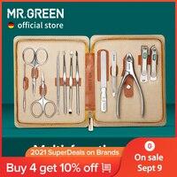 Set Manicure MR.GREEN 12 In 1 Kit completo Set Pedicure professionale In acciaio inossidabile con custodia portatile In pelle Idea regalo