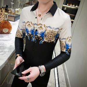 Image 3 - Digital Printed Casual Shirt Men Long Sleeve New 2020 Korean Dress Slim Fit Tuxedo Shirts Male Fashion Night Club Work Shirt Men