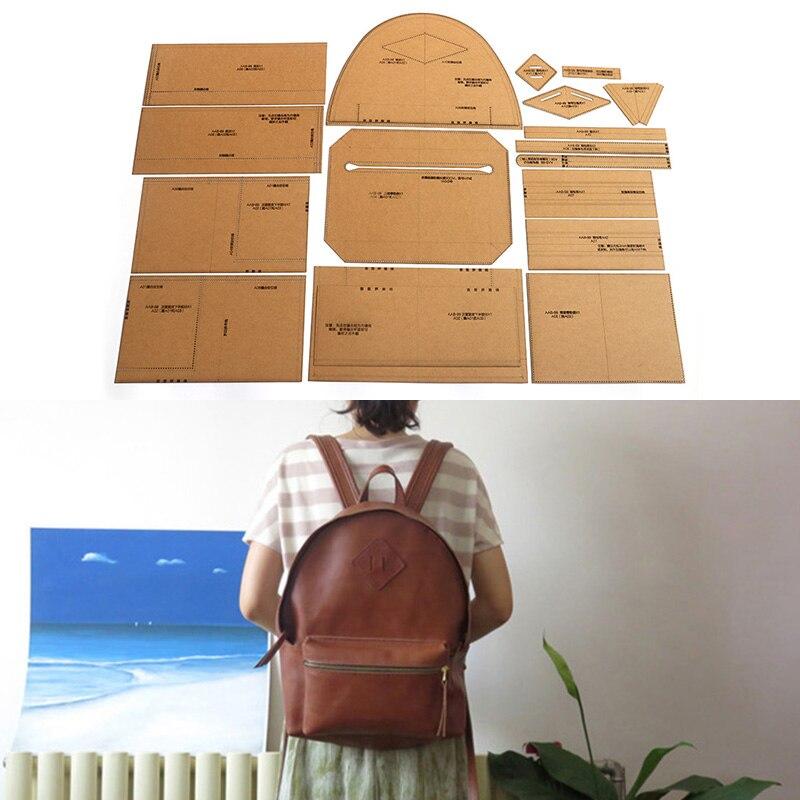 Outils en cuir hommes et femmes sac à dos décontracté papier Kraft pochoir bricolage à la main en cuir artisanat modèle de conception