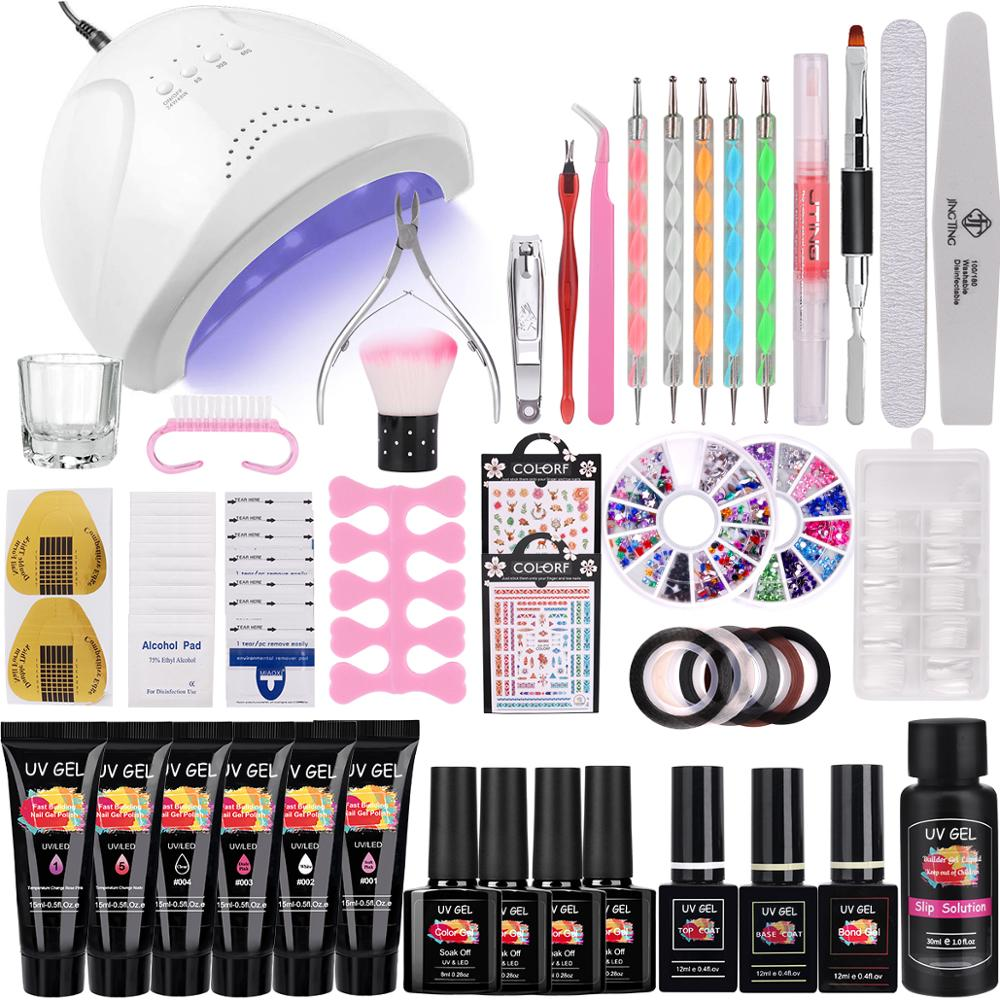 10 Colors Manicure Set Extend Builder 48W Lamp Dryer Poly Nail UV Gel Finger Nail Extension UV LED Acrylic Builder Crystal Jell