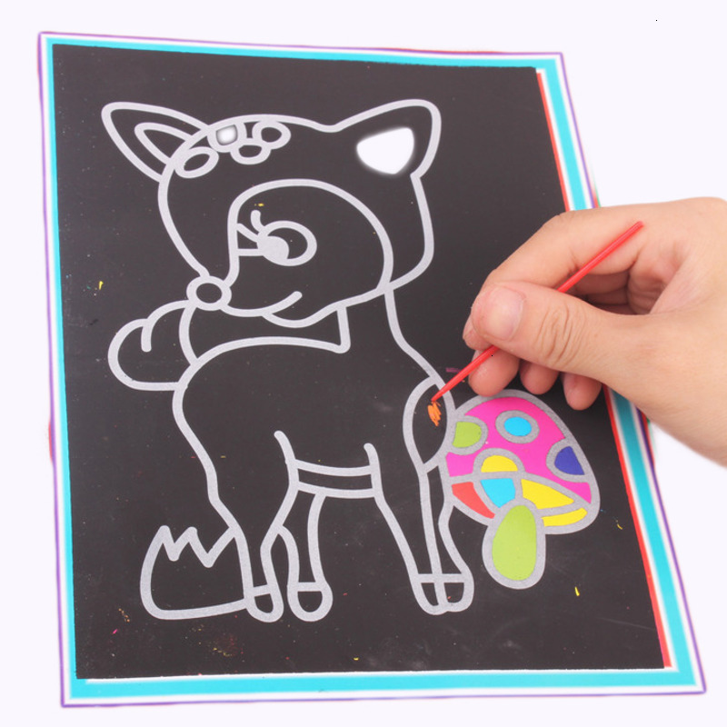 10Pcs/Set Magic Colorful Scratch Drawing Paper Creative Cartoon Animal Painting Learning Education Drawing Toy For Children Gift