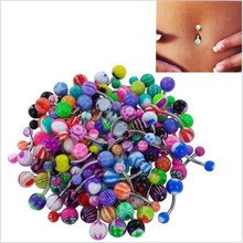50/30Pcs 316L 8mm Mixed Color Fashion Navel Belly Button Tongue Bar Rings Piercing Body Jewelry Stainless Steel Pole