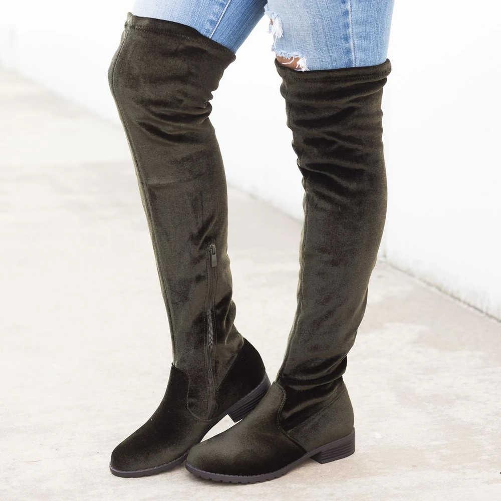 Vogue Flat Thigh High Boots Winter