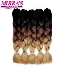 """Mirra erkek ayna 5 adet 3 ton Ombre Jumbo örgüler saç örgü için kahverengi sentetik saç uzantıları Ombre tığ saç 24"""" 100g"""