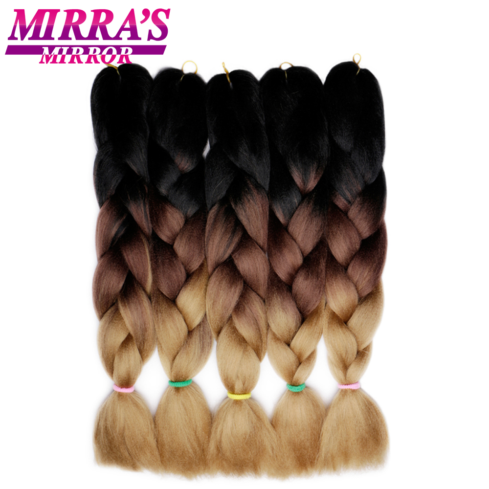 Mirra's Mirror 5Pcs 3 Tone Ombre Jumbo Braids Hair For Braiding Brown Synthetic Hair Extensions Ombre Crochet Hair 24