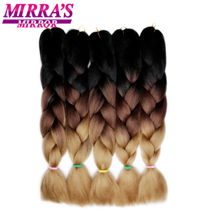 """Mirra's Mirror 5Pcs 3 Tone Ombre Jumbo Braids Hair For Braiding Brown Synthetic Hair Extensions Ombre Crochet Hair 24"""" 100g(China)"""