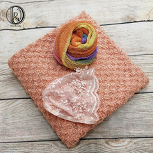 Don&Judy 150x100cm Fabric Blanket with Rainbow Knit Stretch Wrap and Hat Set Background Bonnet Newborn Photography Baby Prop