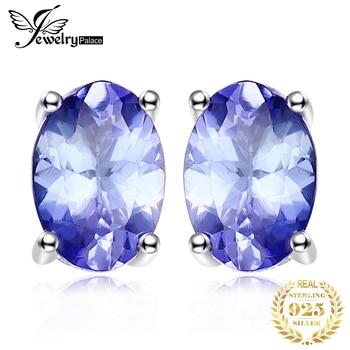 JewelryPalace 1ct Genuine Tanzanite Stud Earrings 925 Sterling Silver for Women Gemstone Korean Earings Fashion Jewelry
