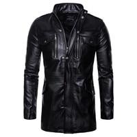 Men Leather Jacket Autumn&Winter Biker Motorcycle Zipper Outwear Coat Pilot Jackets Men's Stand Collar Top Jacket Coat 8.13
