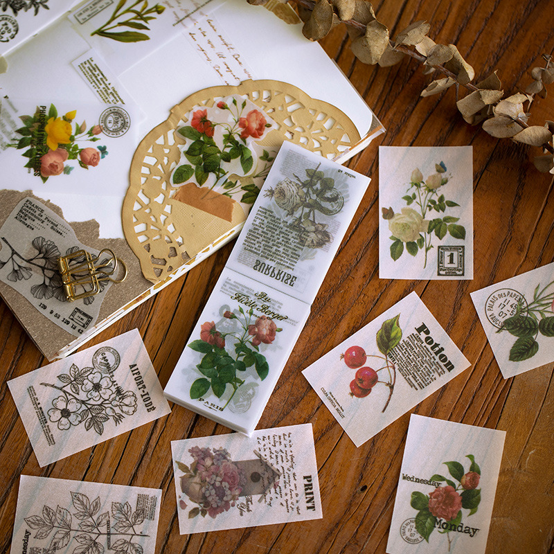 Retro Plant Forest Series Paper Sticky Notes Translucent Flower Memo Pad Diary Stationary Flakes Scrapbook Decorative Vintage