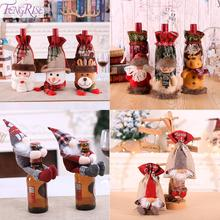 FENGRISE Christmas Wine Bottle Cover Decoration For Home 2019 Ornaments Cristmas Decor Happy New Year 2020
