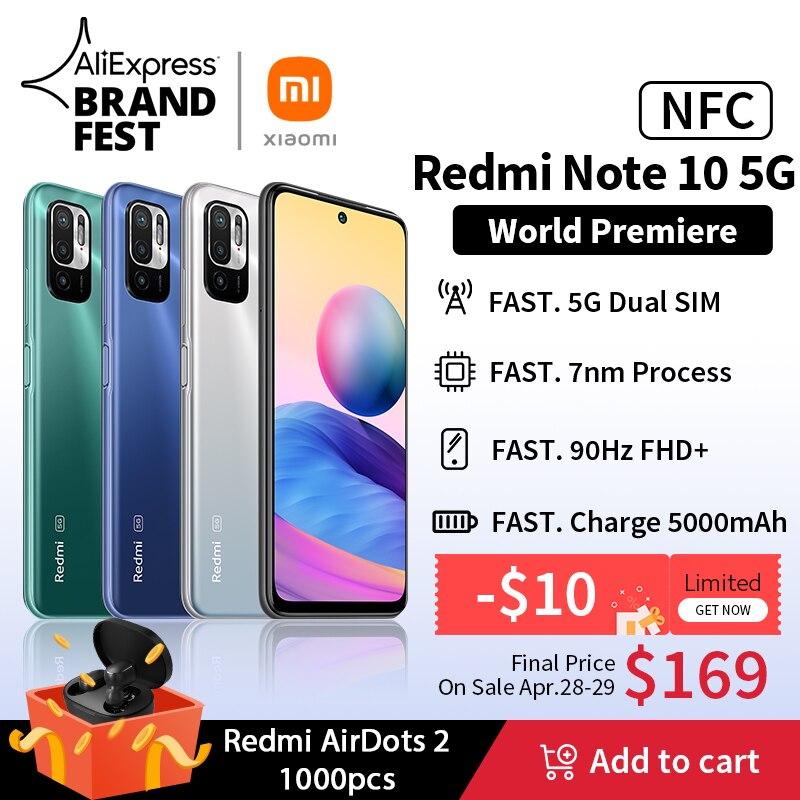 [Lanzamiento mundial En stock] Versión global Xiaomi Redmi Note 10 5G NFC Smartphone Dimensity 700 90Hz FHD+ Pantalla 48MP Cámara 5000mAh
