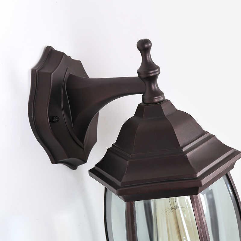 الرجعية في الهواء الطلق مصباح للحائط زجاج قاتم الشمعدان أضواء الجدار مدخل المدخل الإضاءة الخارجية مصابيح إضاءة مقاومة للماء E27 حامل