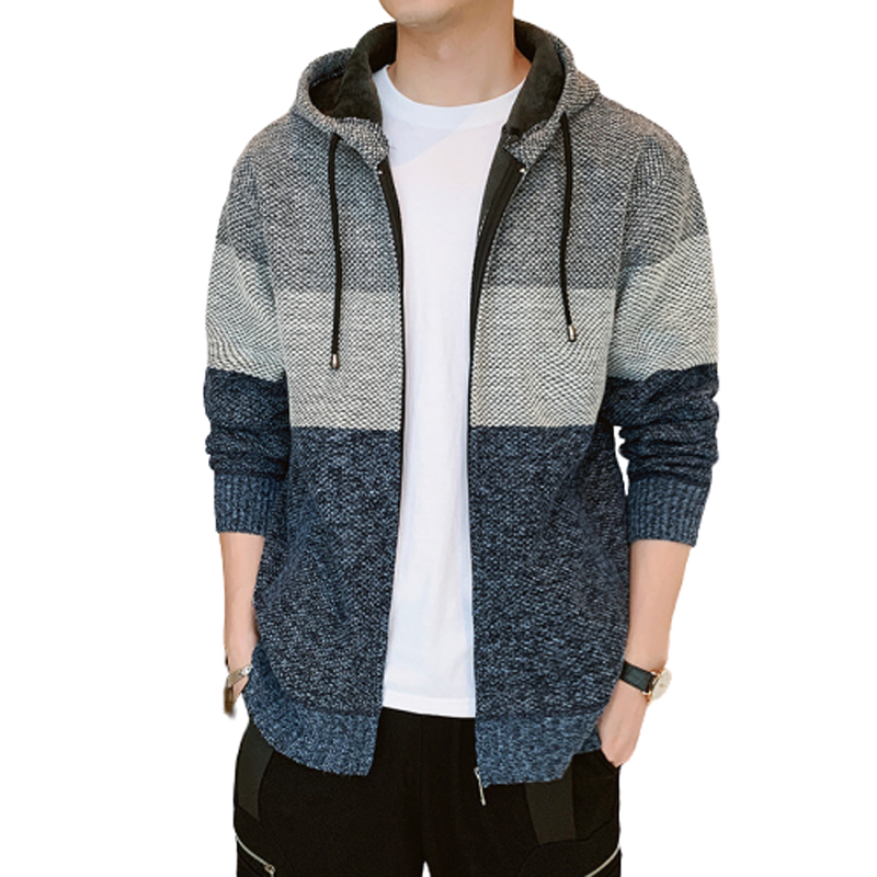 2020 Thick Cardigan Mens Sweater Zipper Striped Hooded Colorblocking Fashion Warm Slim Knitted Sweater Male Fleece Hoodies Coats 1