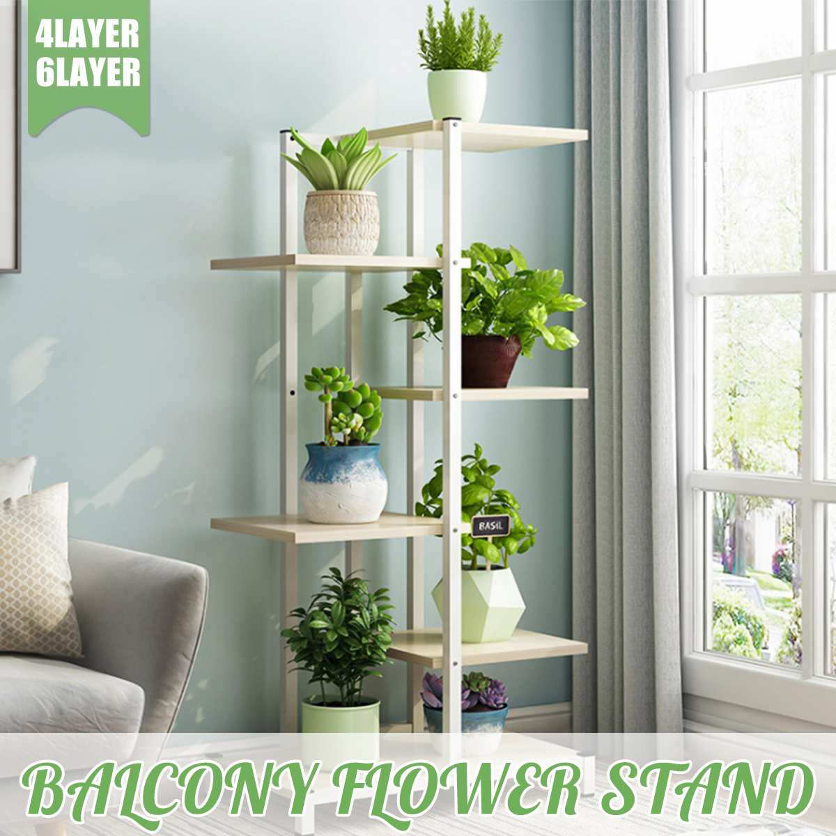 Balcony Living Room Flower Stand Plant Shelves Interior Modern Decoration Floor Standing Multi-layer Flower Shelf Storage Flower