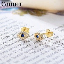 Europe and America 925 Sterling Silver Evil Eye Rainbow Crystal Stud Earrings for Women Earrings Fashion Jewelry Drop Shipping(China)