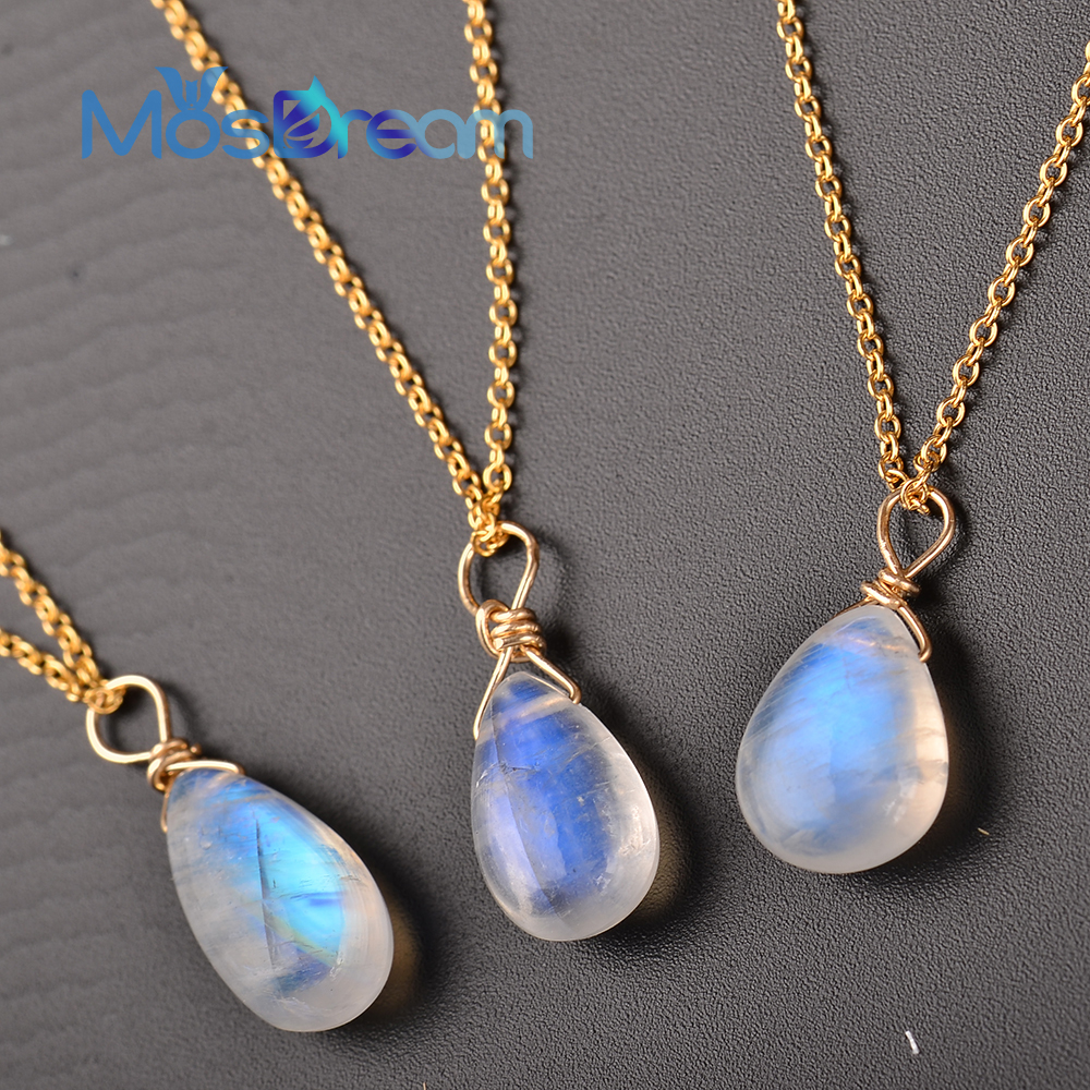 Image 3 - MosDream Natural Moonstone US 14k gold jewelry Chain Pendant Necklace Simple Elegant Jewelry for Women Romatic Gift-in Necklaces from Jewelry & Accessories