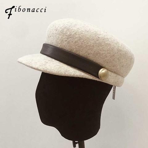 Fibonacci fedoras high quality fashion wool felt hat PU belt decoration women fedora Flat top knight equestrian cap Pakistan