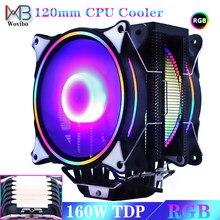 120 мм Процессор кулер вентилятор 6 тепловые трубки RGB PWM 4PIN тихий для ин LGA 115X 1366 2011 V3 X79 X99 AM4 разъем 160 Вт Ventilador
