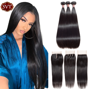 SVT Hair Malaysian Straight Hair Bundles With Closure 4*4 Lace Closure With Bundles Non-Remy Human Hair 3 Bundle With Closure