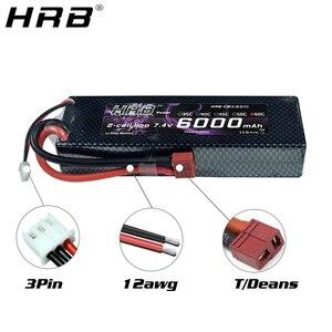 Image 2 - HRB Lipo סוללה 2S 7.4V 6000mAh 60C XT60 T דיקני TRX EC5 XT90 RC חלקי מקרה קשה עבור Traxxas מטוסי מכוניות סירות 4x4 1/8 1/10