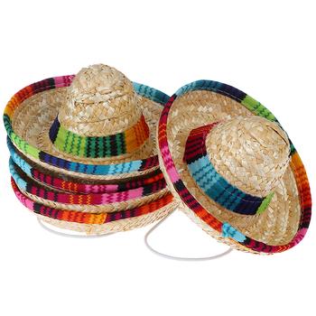 Mini psy domowe słomkowy kapelusz Sombrero kot niedz kapelusz impreza na plaży kapelusze słomkowe psy w stylu hawajskim kapelusz dla psów śmieszne akcesoria tanie i dobre opinie Grass Drukuj
