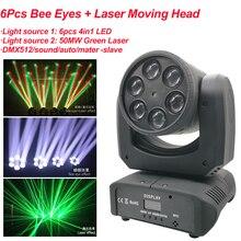 Mini 80W Bộ 6 RGBW 4IN1 Ong Mắt Và Laser Di Chuyển Đầu Giai Đoạn Tia Hiệu Ứng Ánh Sáng DMX512 âm Thanh Đảng Disco Thiết Bị DJ