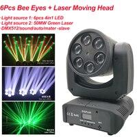 Mini LED de 80W 6 uds RGBW 4IN1 abeja los ojos láser y luz con cabezal móvil etapa efecto de luz DMX512 sonido fiesta Disco DJ equipo