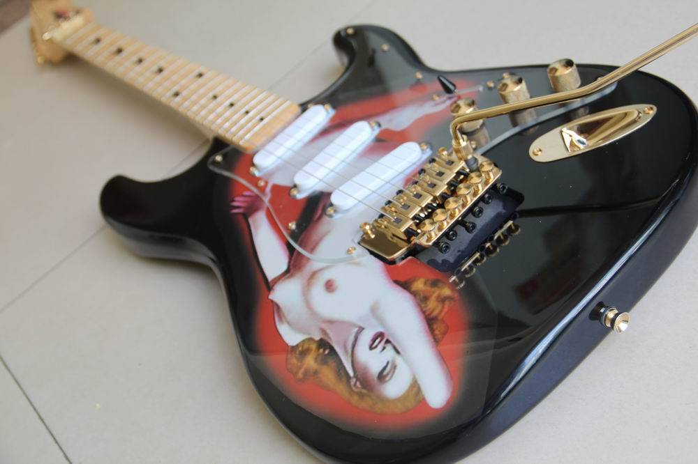 New Arrilavl Playboy Electric Guitar Custom STR Model  In Black 120810