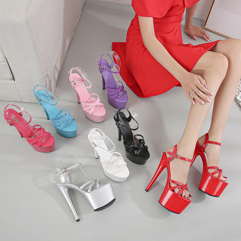 17CM Super High heeled shoes Thick platform Narrow band Shallow Open Toe Sandals 7 inches Fashion Models Party Dress novelty Hot