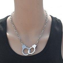 Подвеска в виде наручников Очаровательное ожерелье для женщин и мужчин ювелирные изделия готическое эффектное ожерелье s ожерелья в стиле панк