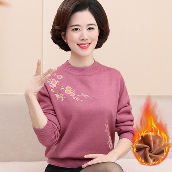 цена на Warm Plus Velvet Knitted Women Sweater Winter Loose Jumper Fashion Flowers Print Long Sleeves Sweater And Pullover Femme Pull