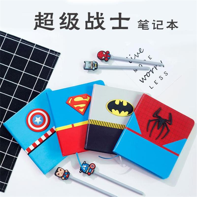 TOPSTHINK Anime Cartoon Notebook Set Gift Super Hero Hand Book Creative Batman Spiderman Diary Drawing Student Pads Gift