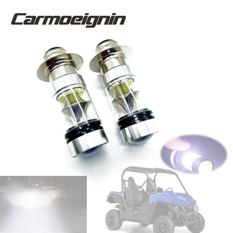 2PCS H6 100W LED Headlights Lamp Bulbs For <font><b>Yamaha</b></font> ATV <font><b>YFM</b></font> 125 250 350 <font><b>400</b></font> 450 600 660 700 Big Bear Wolverine Grizzly Raptor image
