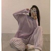 Pijamas a cuadros para mujer, ropa de dormir con Tops y pantalones para estar en casa