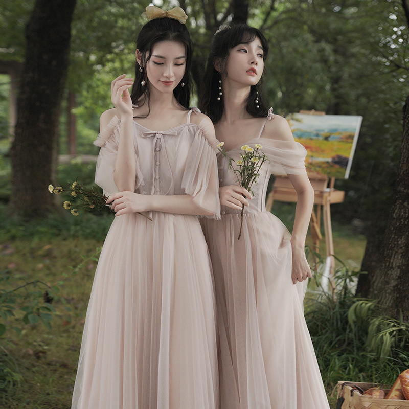 Dusty Pink Long Bridesmaid Dresses Elegant Lace Tulle 2021 New Wedding Guest Dress Party Gown Vestido JQ818