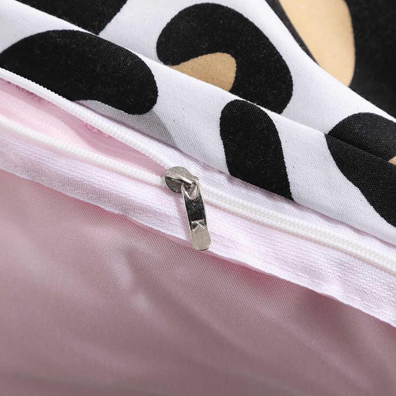 ANNAs Coisas Boas Nova Estampa de Leopardo Preto Legal Jogo de Cama Puro Rosa Lençol Meninas Artigo Cama Dormitório Estudantil Quilt Cover
